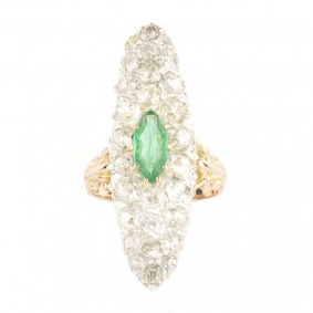 18k Rose Gold Diamond and Emerald Dress Ring 2.18ct
